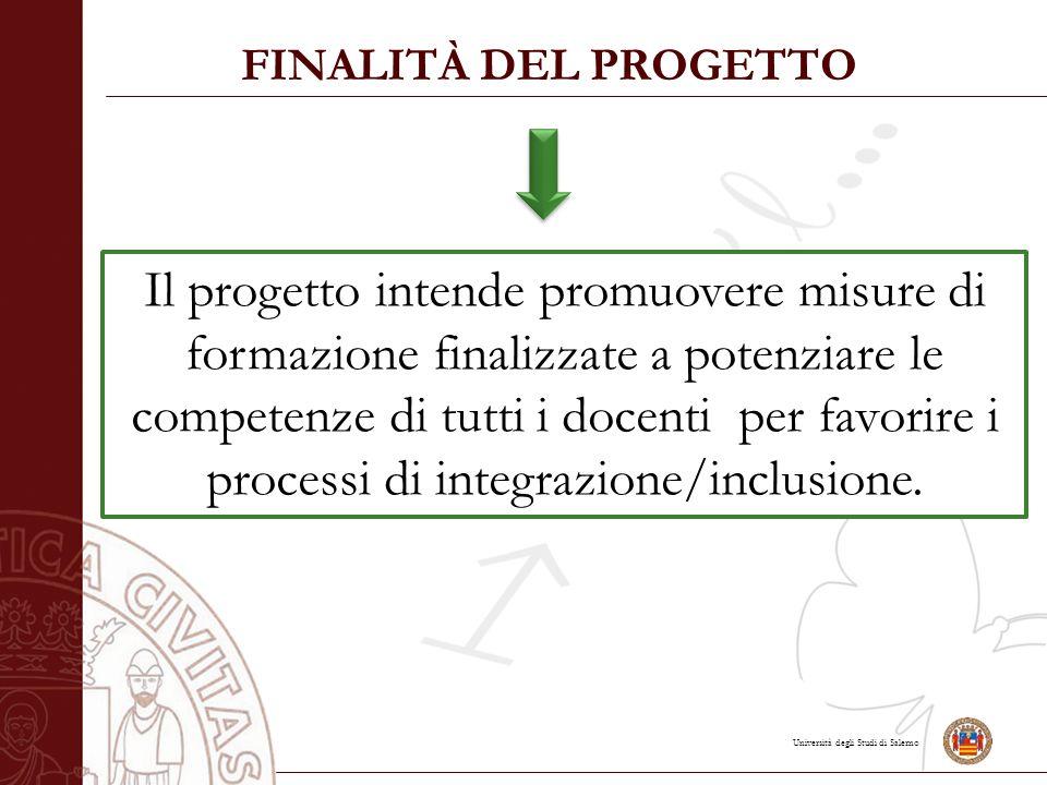 Università degli Studi di Salerno FINALITÀ DEL PROGETTO Il progetto intende promuovere misure di formazione finalizzate a potenziare le competenze di tutti i docenti per favorire i processi di integrazione/inclusione.