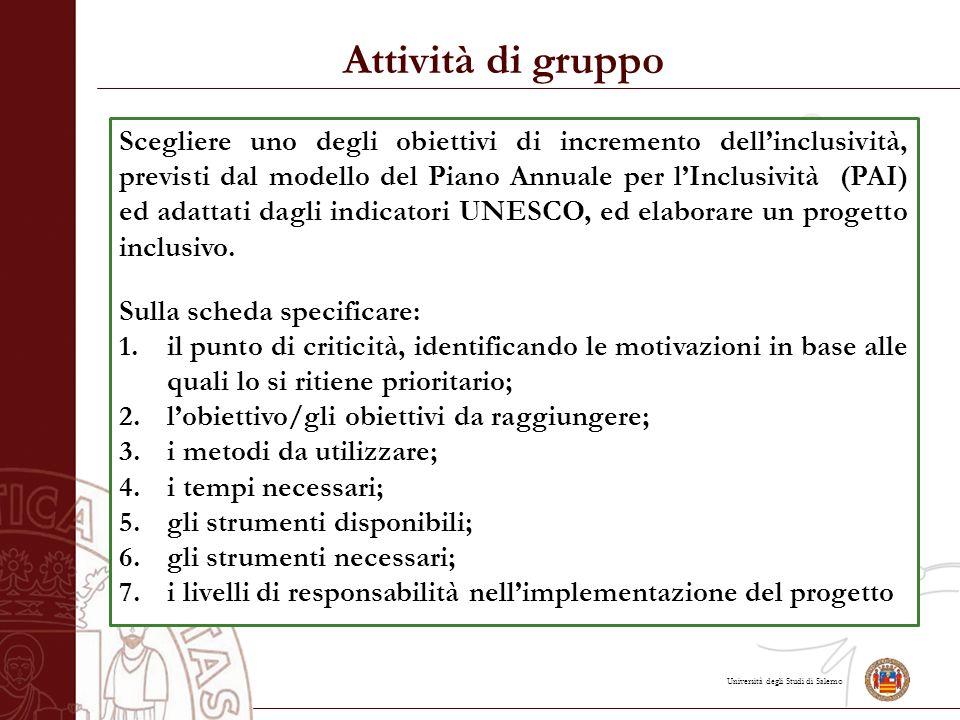Università degli Studi di Salerno Attività di gruppo Scegliere uno degli obiettivi di incremento dell'inclusività, previsti dal modello del Piano Annuale per l'Inclusività (PAI) ed adattati dagli indicatori UNESCO, ed elaborare un progetto inclusivo.
