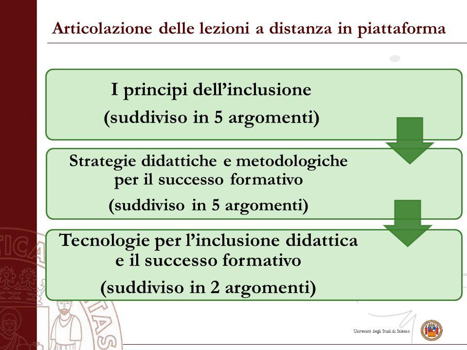 Università degli Studi di Salerno Articolazione delle lezioni a distanza in piattaforma I principi dell'inclusione (suddiviso in 5 argomenti) Strategie didattiche e metodologiche per il successo formativo (suddiviso in 5 argomenti) Tecnologie per l'inclusione didattica e il successo formativo (suddiviso in 2 argomenti)