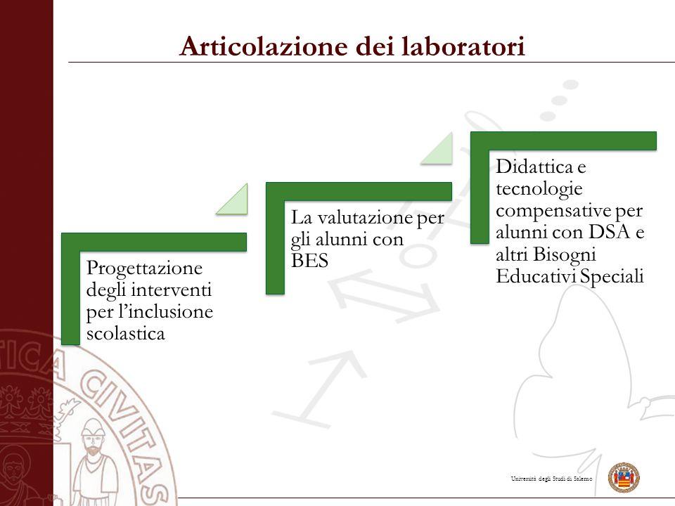 Università degli Studi di Salerno Articolazione dei laboratori Progettazione degli interventi per l'inclusione scolastica La valutazione per gli alunni con BES Didattica e tecnologie compensative per alunni con DSA e altri Bisogni Educativi Speciali