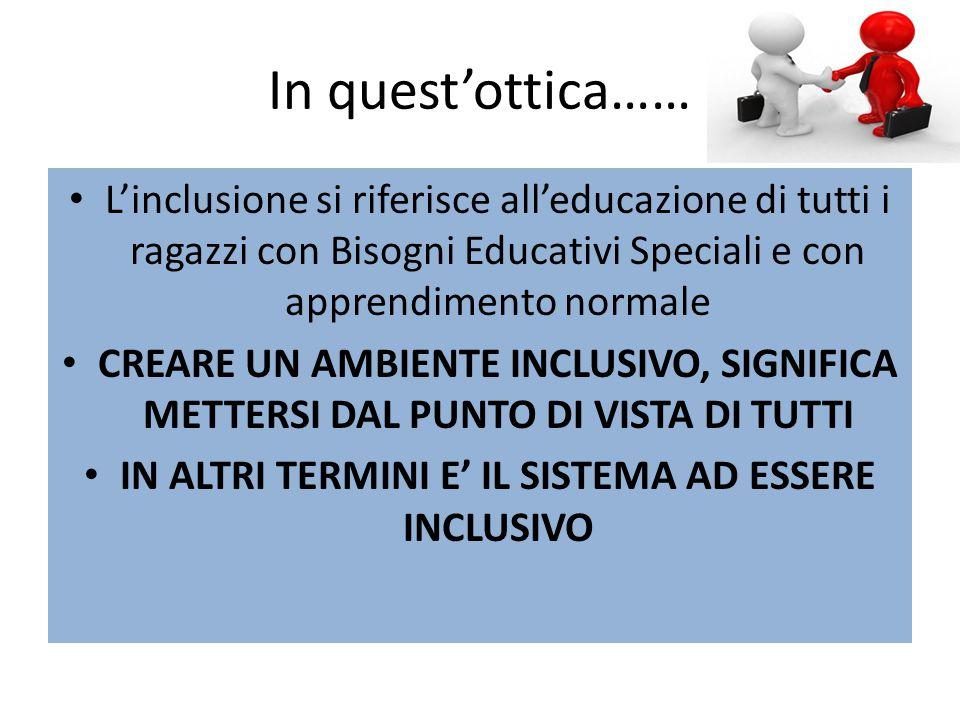 In quest'ottica…… L'inclusione si riferisce all'educazione di tutti i ragazzi con Bisogni Educativi Speciali e con apprendimento normale CREARE UN AMBIENTE INCLUSIVO, SIGNIFICA METTERSI DAL PUNTO DI VISTA DI TUTTI IN ALTRI TERMINI E' IL SISTEMA AD ESSERE INCLUSIVO