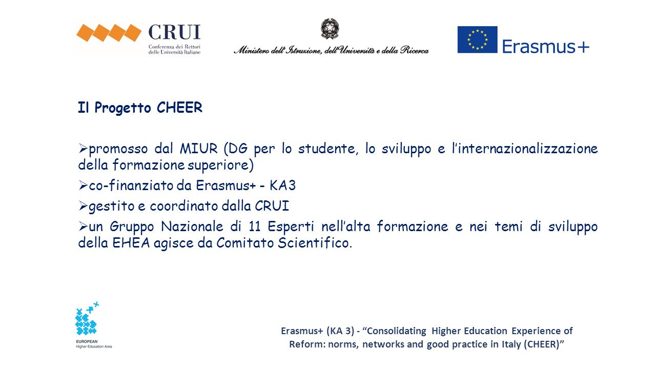 """Erasmus+ (KA 3) - """"Consolidating Higher Education Experience of Reform: norms, networks and good practice in Italy (CHEER)"""" Il Progetto CHEER  promos"""