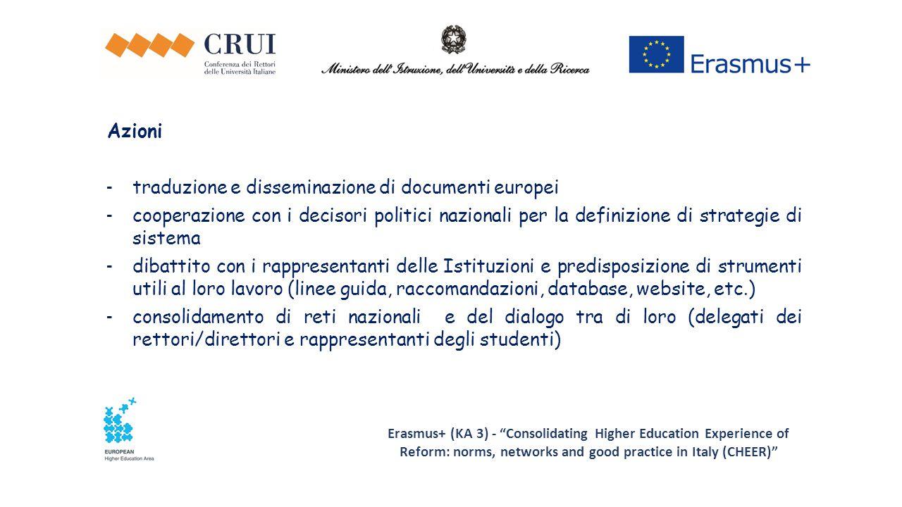 Erasmus+ (KA 3) - Consolidating Higher Education Experience of Reform: norms, networks and good practice in Italy (CHEER) Azioni - traduzione e disseminazione di documenti europei - cooperazione con i decisori politici nazionali per la definizione di strategie di sistema - dibattito con i rappresentanti delle Istituzioni e predisposizione di strumenti utili al loro lavoro (linee guida, raccomandazioni, database, website, etc.) - consolidamento di reti nazionali e del dialogo tra di loro (delegati dei rettori/direttori e rappresentanti degli studenti)