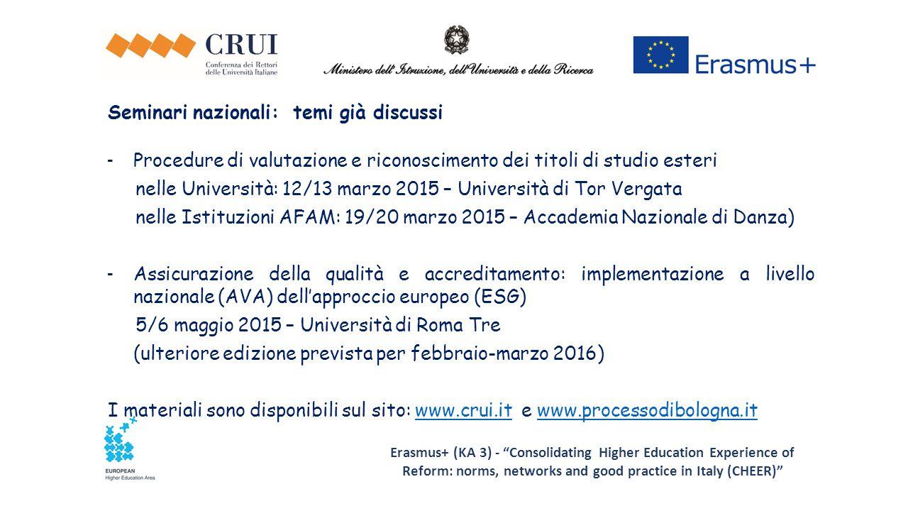 Erasmus+ (KA 3) - Consolidating Higher Education Experience of Reform: norms, networks and good practice in Italy (CHEER) Seminari nazionali: temi già discussi - Procedure di valutazione e riconoscimento dei titoli di studio esteri nelle Università: 12/13 marzo 2015 – Università di Tor Vergata nelle Istituzioni AFAM: 19/20 marzo 2015 – Accademia Nazionale di Danza) - Assicurazione della qualità e accreditamento: implementazione a livello nazionale (AVA) dell'approccio europeo (ESG) 5/6 maggio 2015 – Università di Roma Tre (ulteriore edizione prevista per febbraio-marzo 2016) I materiali sono disponibili sul sito: www.crui.it e www.processodibologna.itwww.crui.itwww.processodibologna.it