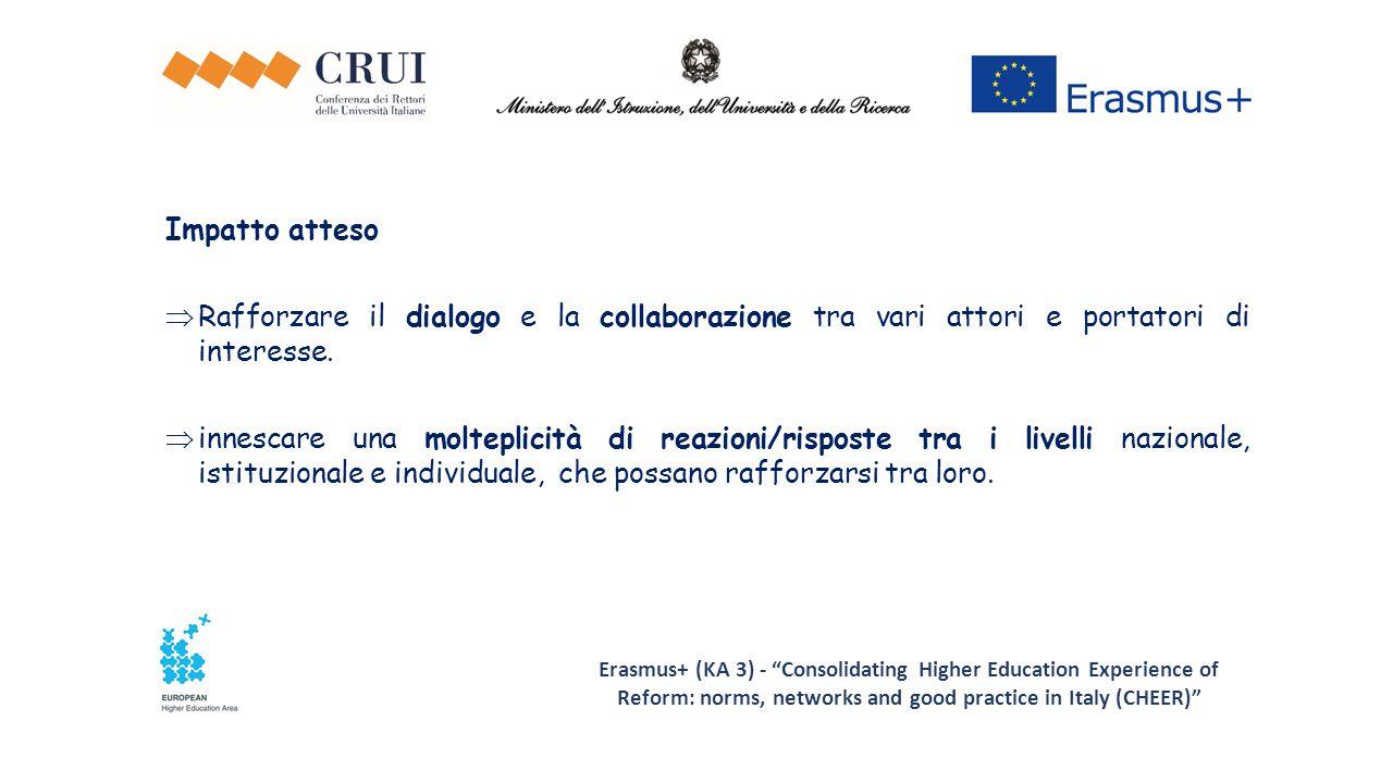 Erasmus+ (KA 3) - Consolidating Higher Education Experience of Reform: norms, networks and good practice in Italy (CHEER) Impatto atteso  Rafforzare il dialogo e la collaborazione tra vari attori e portatori di interesse.