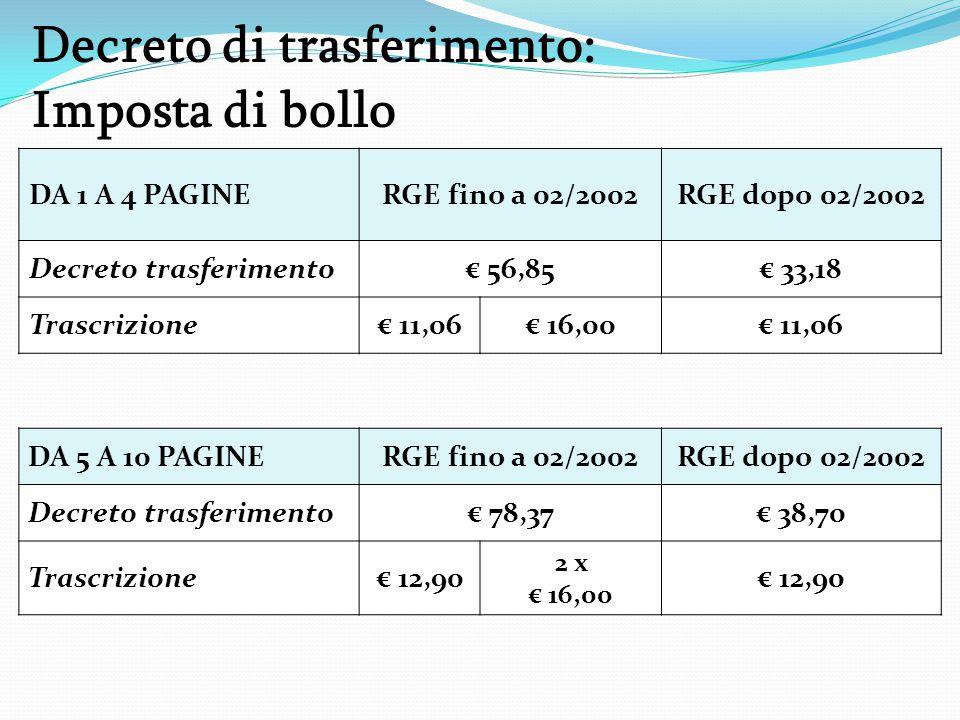 Decreto di trasferimento: Imposta di bollo DA 1 A 4 PAGINERGE fino a 02/2002RGE dopo 02/2002 Decreto trasferimento€ 56,85€ 33,18 Trascrizione€ 11,06€