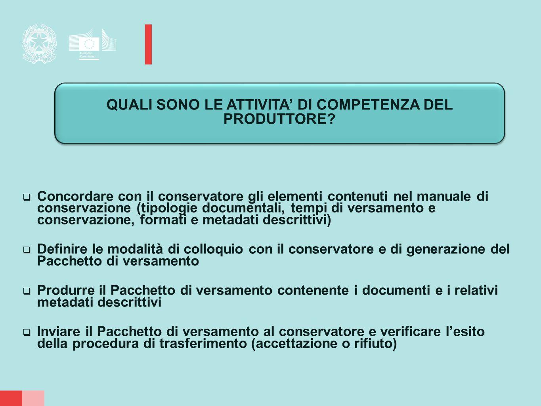  Concordare con il conservatore gli elementi contenuti nel manuale di conservazione (tipologie documentali, tempi di versamento e conservazione, form