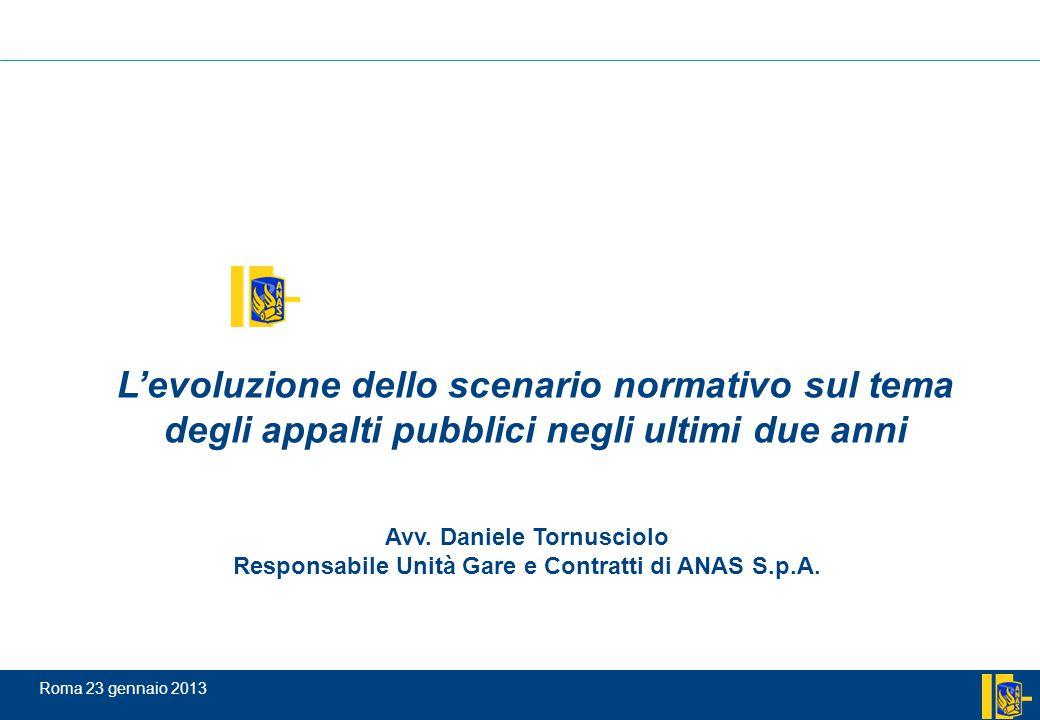 Roma 23 gennaio 2013 Avv. Daniele Tornusciolo Responsabile Unità Gare e Contratti di ANAS S.p.A. L'evoluzione dello scenario normativo sul tema degli