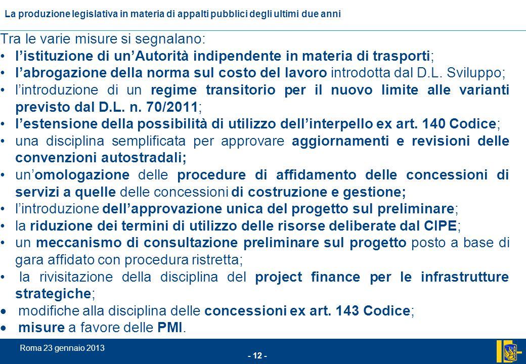 L'incidenza comunitario nel settore degli appalti pubblici - 12 - Roma 23 gennaio 2013 La produzione legislativa in materia di appalti pubblici degli