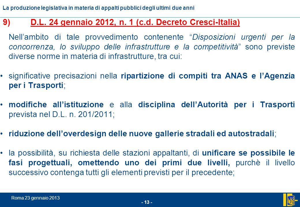 L'incidenza comunitario nel settore degli appalti pubblici - 13 - Roma 23 gennaio 2013 La produzione legislativa in materia di appalti pubblici degli