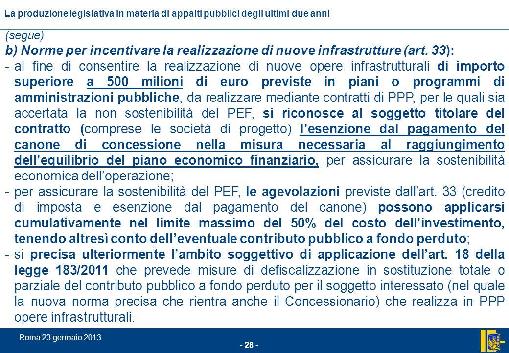 L'incidenza comunitario nel settore degli appalti pubblici - 28 - Roma 23 gennaio 2013 La produzione legislativa in materia di appalti pubblici degli