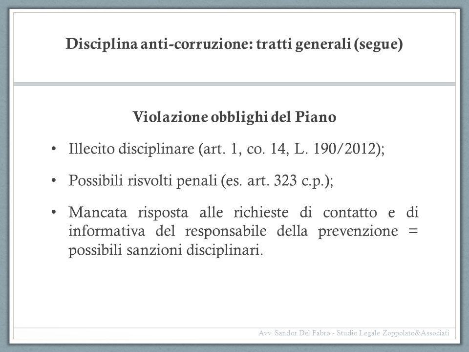 Disciplina anti-corruzione: tratti generali (segue) Violazione obblighi del Piano Illecito disciplinare (art. 1, co. 14, L. 190/2012); Possibili risvo