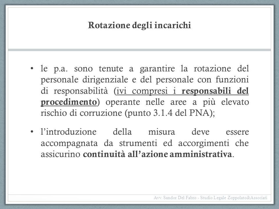 Rotazione degli incarichi le p.a. sono tenute a garantire la rotazione del personale dirigenziale e del personale con funzioni di responsabilità (ivi