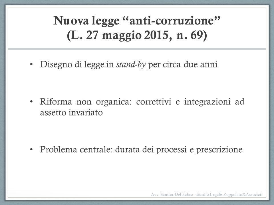 """Nuova legge """"anti-corruzione"""" (L. 27 maggio 2015, n. 69) Disegno di legge in stand-by per circa due anni Riforma non organica: correttivi e integrazio"""