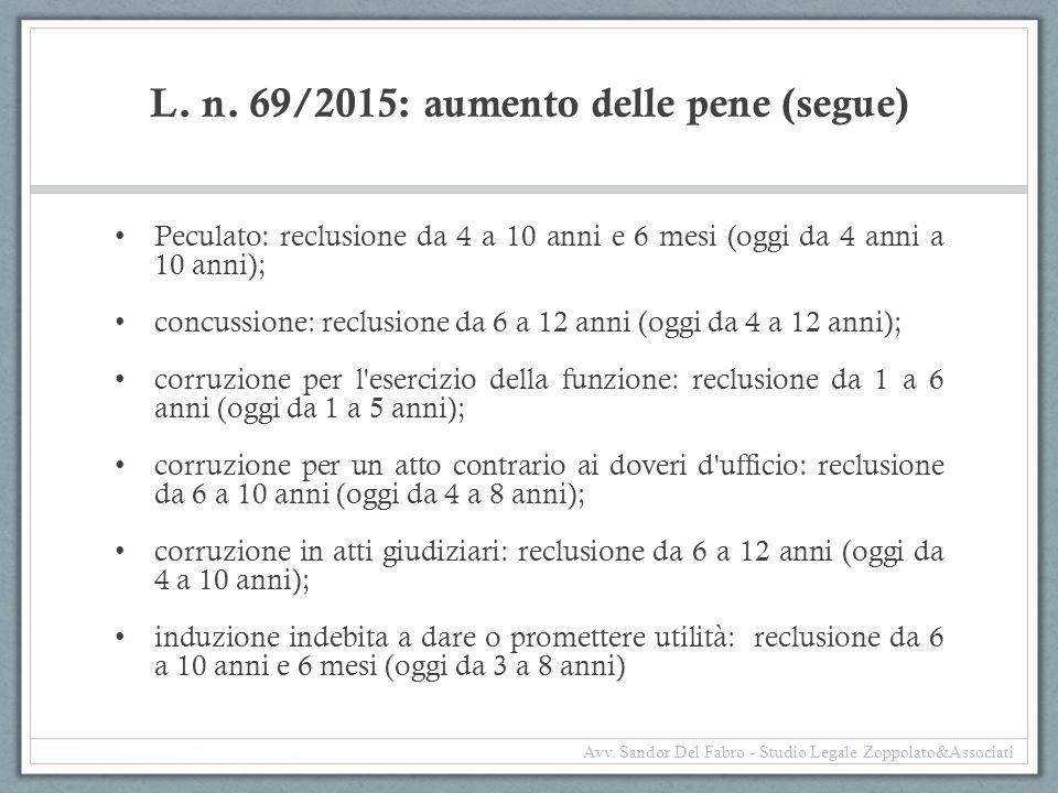 L. n. 69/2015: aumento delle pene (segue) Peculato: reclusione da 4 a 10 anni e 6 mesi (oggi da 4 anni a 10 anni); concussione: reclusione da 6 a 12 a