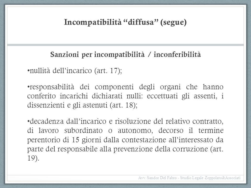 """Incompatibilità """"diffusa"""" (segue) Sanzioni per incompatibilità / inconferibilità nullità dell'incarico (art. 17); responsabilità dei componenti degli"""