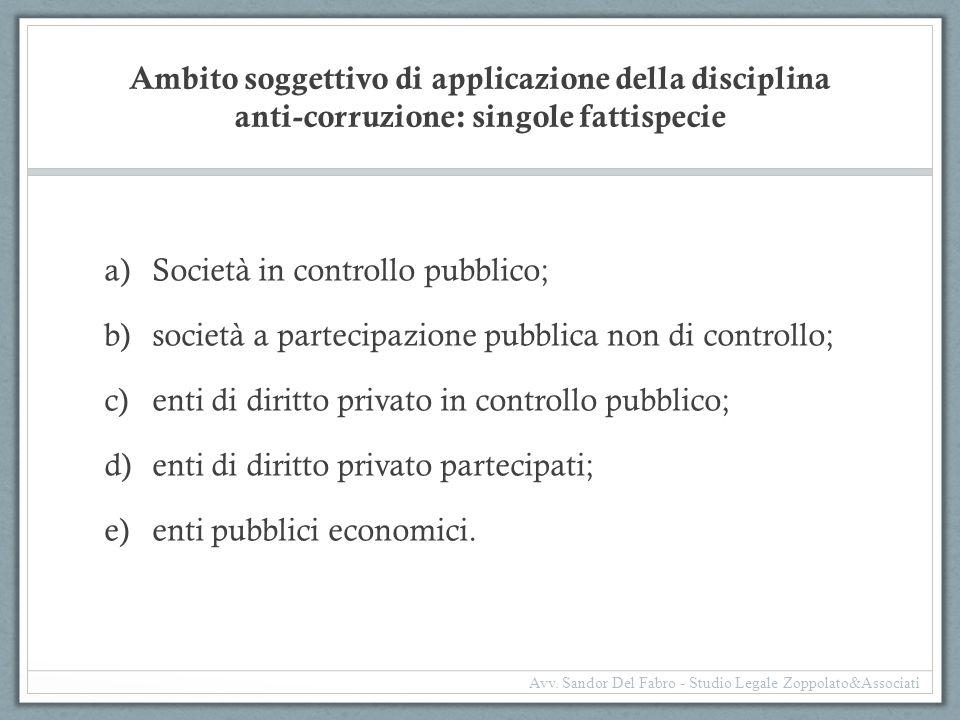 Ambito soggettivo di applicazione della disciplina anti-corruzione: singole fattispecie a)Società in controllo pubblico; b)società a partecipazione pu
