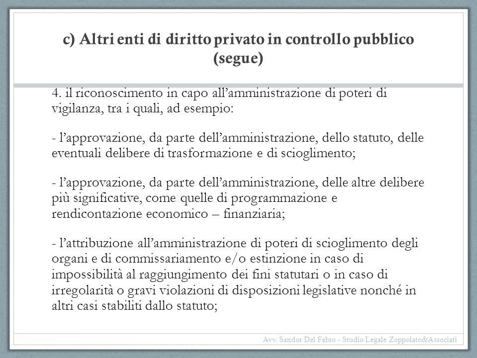 c) Altri enti di diritto privato in controllo pubblico (segue) 4. il riconoscimento in capo all'amministrazione di poteri di vigilanza, tra i quali, a