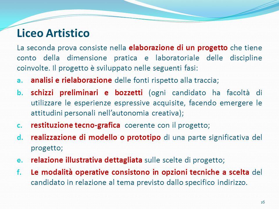 Liceo Artistico La seconda prova consiste nella elaborazione di un progetto che tiene conto della dimensione pratica e laboratoriale delle discipline