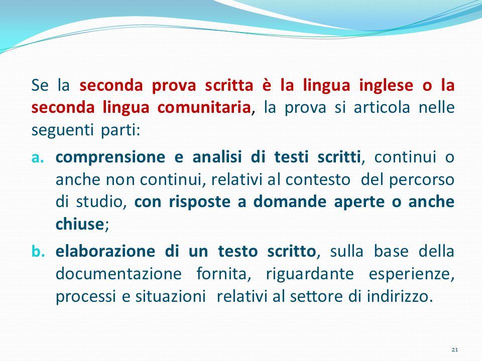 Se la seconda prova scritta è la lingua inglese o la seconda lingua comunitaria, la prova si articola nelle seguenti parti: a. comprensione e analisi