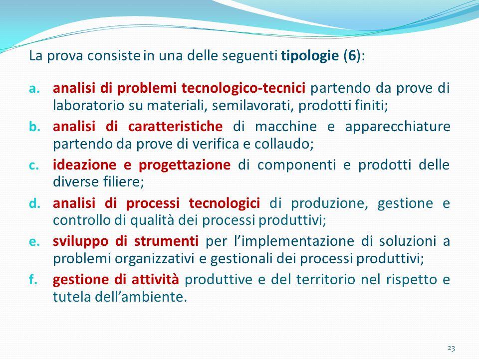 La prova consiste in una delle seguenti tipologie (6): a. analisi di problemi tecnologico-tecnici partendo da prove di laboratorio su materiali, semil