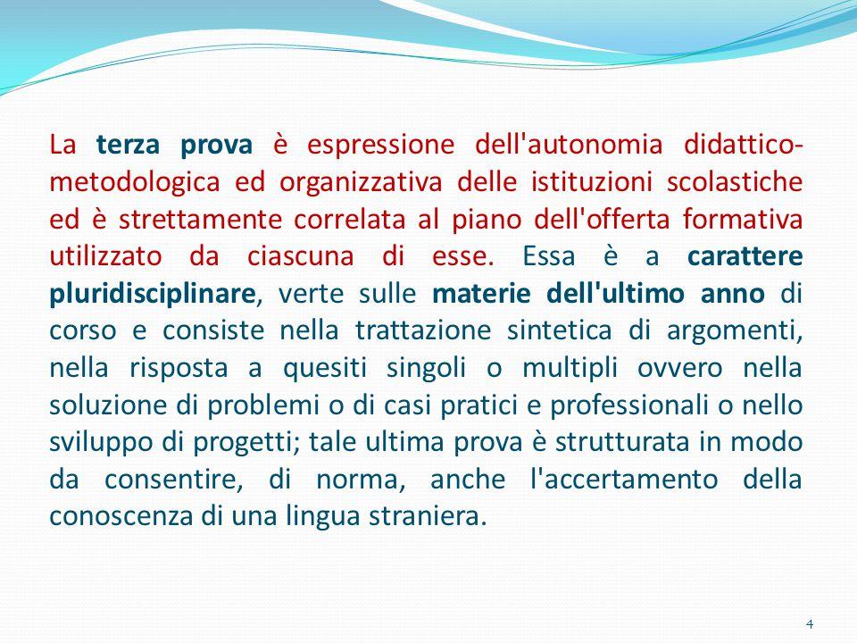 La terza prova è espressione dell'autonomia didattico- metodologica ed organizzativa delle istituzioni scolastiche ed è strettamente correlata al pian