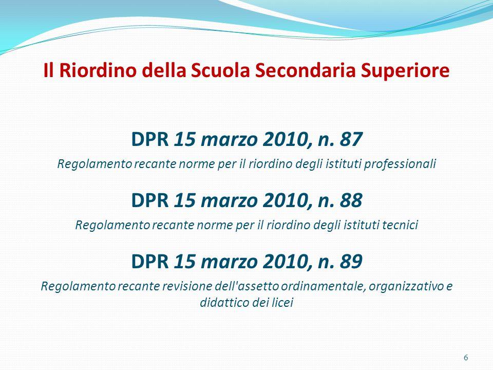 Il Riordino della Scuola Secondaria Superiore DPR 15 marzo 2010, n. 87 Regolamento recante norme per il riordino degli istituti professionali DPR 15 m