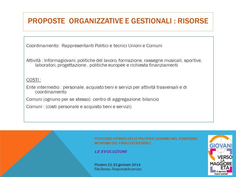 PROPOSTE ORGANIZZATIVE E GESTIONALI : RISORSE Coordinamento: Rappresentanti Politici e tecnici Unioni e Comuni Attività : Informagiovani, politiche de