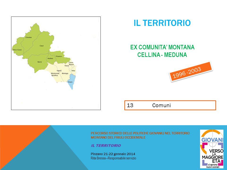 IL TERRITORIO EX COMUNITA' MONTANA VAL D'ARZINO – VAL COSA – VAL TRAMONTINA PERCORSO STORICO DELLE POLITICHE GIOVANILI NEL TERRITORIO MONTANO DEL FRIULI OCCIDENTALE IL TERRITORIO Pinzano 21-22 gennaio 2014 Rita Bressa –Responsabile servizio 9 Comuni più Spilimbergo e San Giorgio alla Richinvelda 1996 -2003