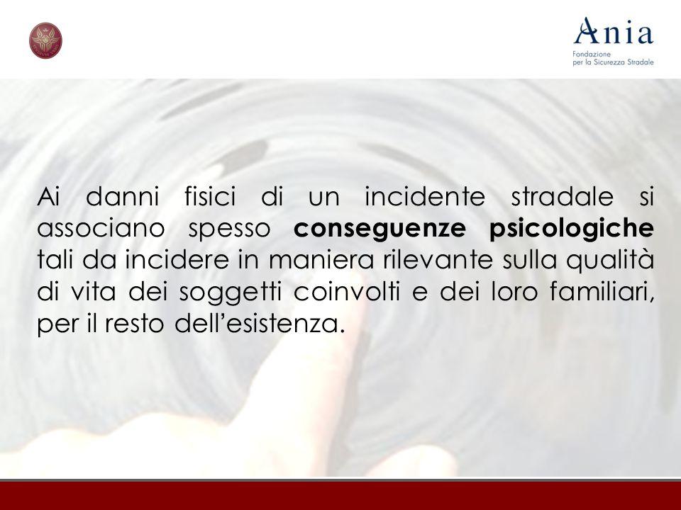 Ai danni fisici di un incidente stradale si associano spesso conseguenze psicologiche tali da incidere in maniera rilevante sulla qualità di vita dei