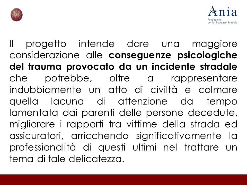 Il progetto intende dare una maggiore considerazione alle conseguenze psicologiche del trauma provocato da un incidente stradale che potrebbe, oltre a