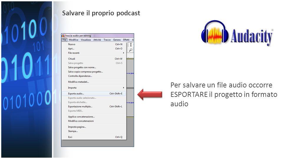 Per salvare un file audio occorre ESPORTARE il progetto in formato audio Salvare il proprio podcast