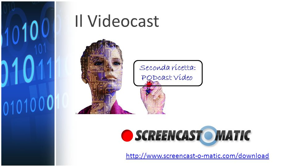 http://www.screencast-o-matic.com/download Il Videocast Seconda ricetta: PODcast Video