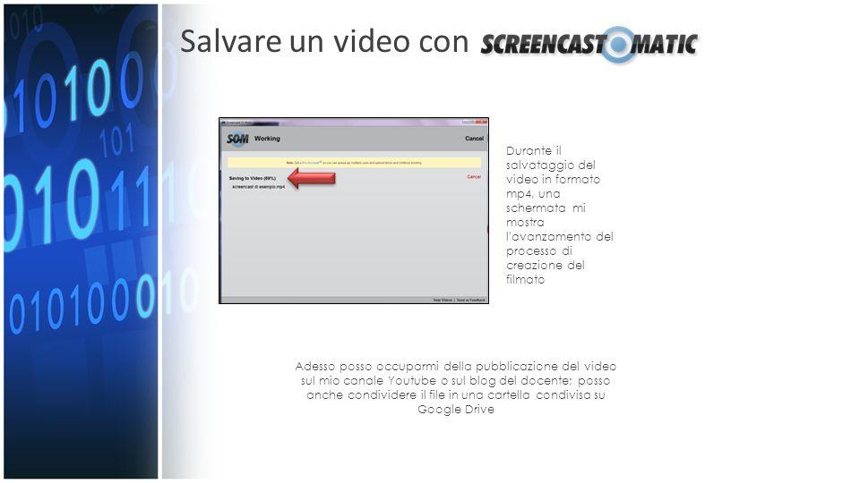 Salvare un video con Durante il salvataggio del video in formato mp4, una schermata mi mostra l'avanzamento del processo di creazione del filmato Ades