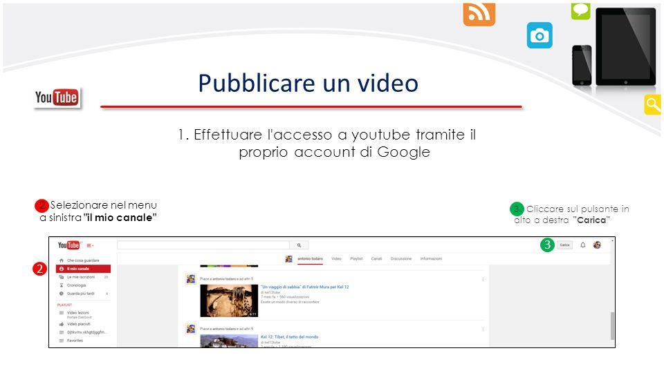 Pubblicare un video 3. Cliccare sul pulsante in alto a destra