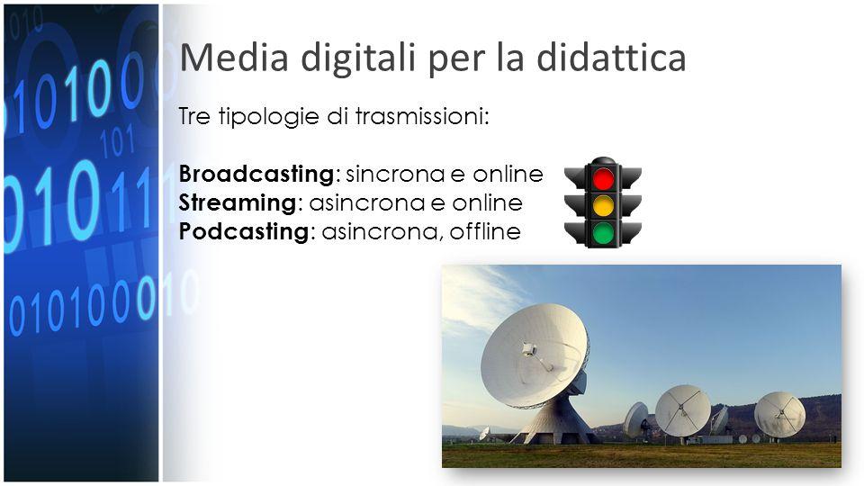 Media digitali per la didattica Tre tipologie di trasmissioni: Broadcasting : sincrona e online Streaming : asincrona e online Podcasting : asincrona,