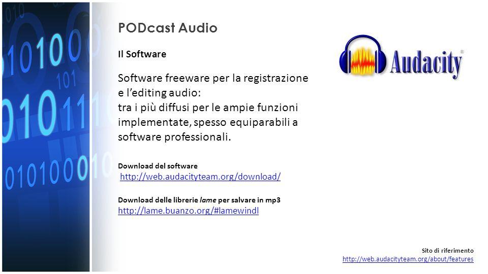 PODcast Audio Effettuato il download, aprire il file e installare il programma seguendo la procedura guidata… Sito di riferimento http://web.audacityteam.org/about/features http://web.audacityteam.org/about/features Installazione