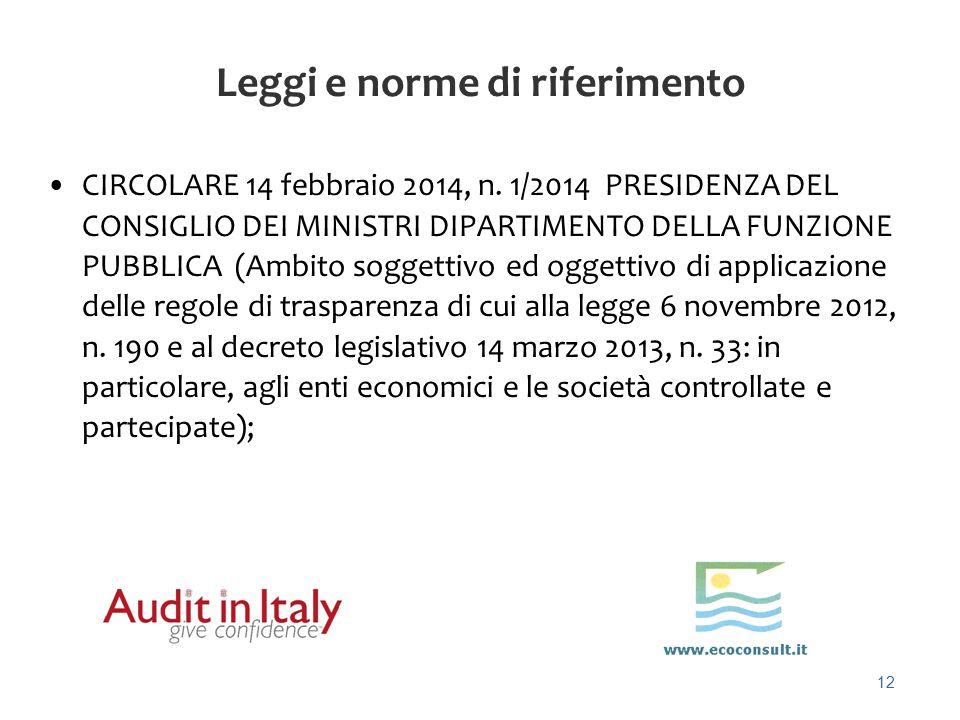 12 Leggi e norme di riferimento CIRCOLARE 14 febbraio 2014, n. 1/2014 PRESIDENZA DEL CONSIGLIO DEI MINISTRI DIPARTIMENTO DELLA FUNZIONE PUBBLICA (Ambi