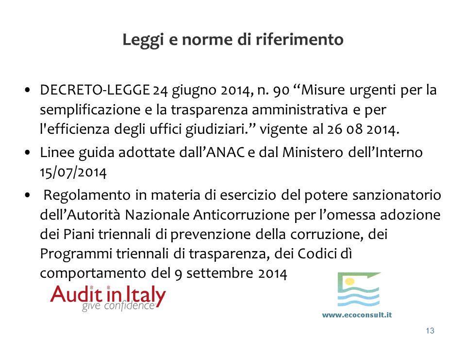 """13 Leggi e norme di riferimento DECRETO-LEGGE 24 giugno 2014, n. 90 """"Misure urgenti per la semplificazione e la trasparenza amministrativa e per l'eff"""