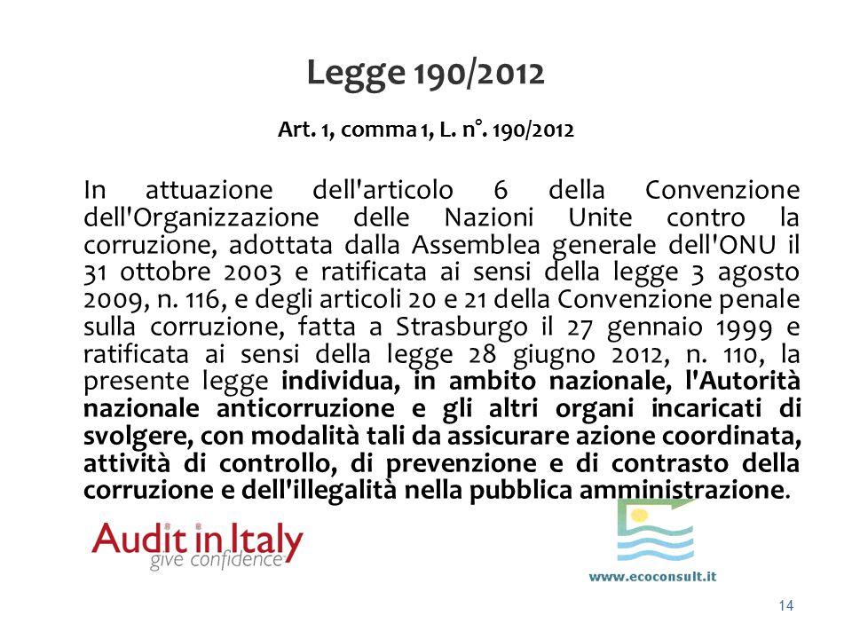 14 Legge 190/2012 Art. 1, comma 1, L. n°. 190/2012 In attuazione dell'articolo 6 della Convenzione dell'Organizzazione delle Nazioni Unite contro la c