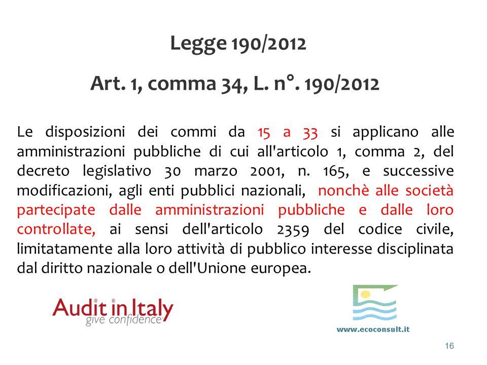 16 Legge 190/2012 Art. 1, comma 34, L. n°. 190/2012 Le disposizioni dei commi da 15 a 33 si applicano alle amministrazioni pubbliche di cui all'artico