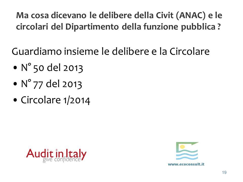 19 Ma cosa dicevano le delibere della Civit (ANAC) e le circolari del Dipartimento della funzione pubblica ? Guardiamo insieme le delibere e la Circol