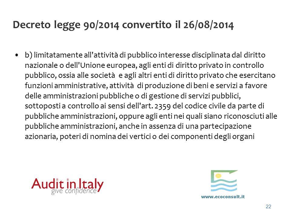 22 Decreto legge 90/2014 convertito il 26/08/2014 b) limitatamente all'attività di pubblico interesse disciplinata dal diritto nazionale o dell'Unione