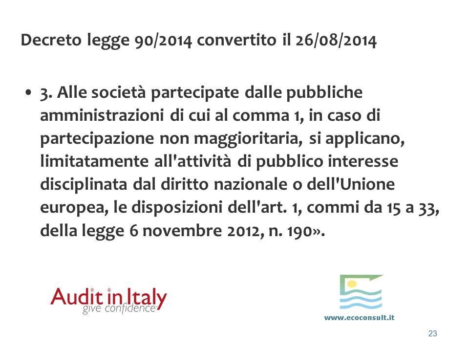 23 Decreto legge 90/2014 convertito il 26/08/2014 3. Alle società partecipate dalle pubbliche amministrazioni di cui al comma 1, in caso di partecipaz