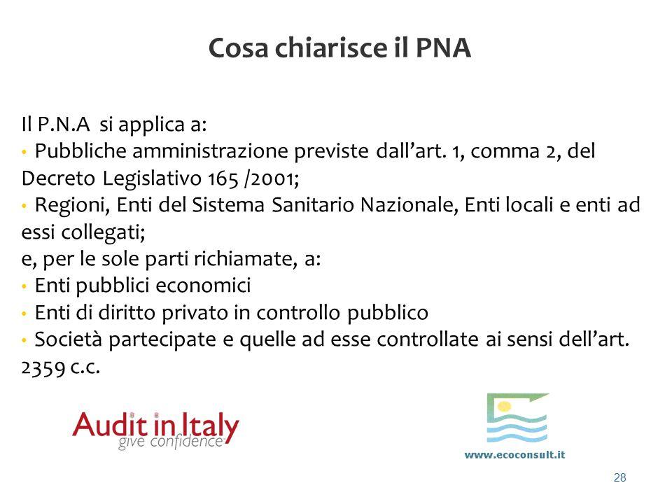28 Cosa chiarisce il PNA Il P.N.A si applica a: Pubbliche amministrazione previste dall'art. 1, comma 2, del Decreto Legislativo 165 /2001; Regioni, E