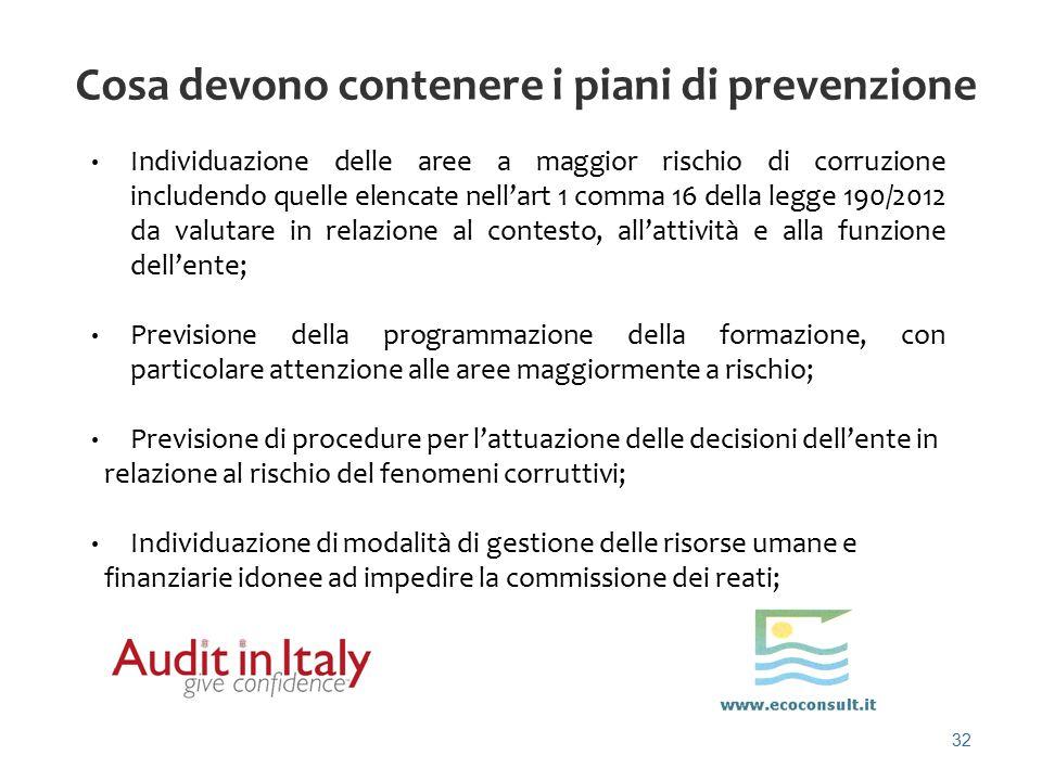 32 Cosa devono contenere i piani di prevenzione Individuazione delle aree a maggior rischio di corruzione includendo quelle elencate nell'art 1 comma