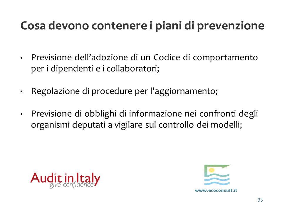 33 Cosa devono contenere i piani di prevenzione Previsione dell'adozione di un Codice di comportamento per i dipendenti e i collaboratori; Regolazione