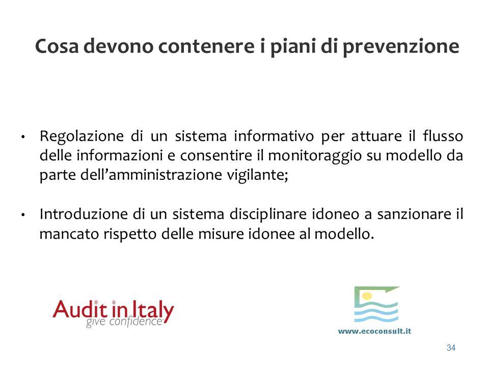 34 Cosa devono contenere i piani di prevenzione Regolazione di un sistema informativo per attuare il flusso delle informazioni e consentire il monitor