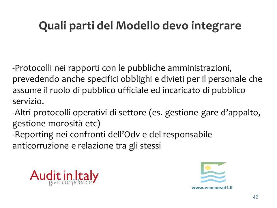 42 Quali parti del Modello devo integrare -Protocolli nei rapporti con le pubbliche amministrazioni, prevedendo anche specifici obblighi e divieti per