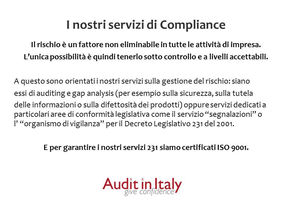 Le nostre Certificazioni e i nostri Partners Audit in Italy è una realtà certificata ISO 9001 per i Servizi di compliance aziendale, in particolare per: Servizio di fornitura dell'Organismo di Vigilanza ai sensi del Decreto Legislativo 231 del 2001 Servizio di gestione delle Segnalazioni ai sensi del Decreto legislativo 231 del 2001 Servizio di Progettazione ed erogazione di corsi di formazione.
